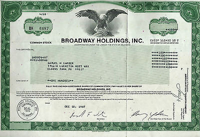 BROADWAY HOLDINGS, INC Stock Certificate 100 Shares - Issued in 1987