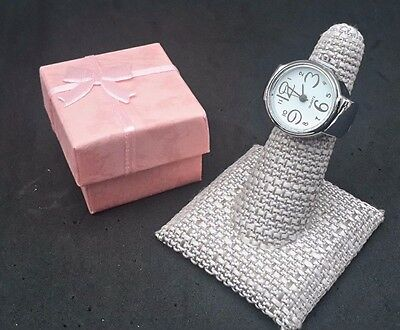 Watch - Quartz Stretch Rings for Women - Silver Tone (See Photo & Details)