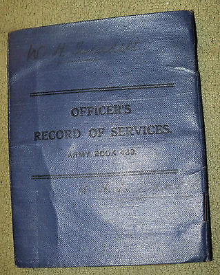 Officer's Record of Service Army Book 439 Canada Military Lashburn Saskatchewan