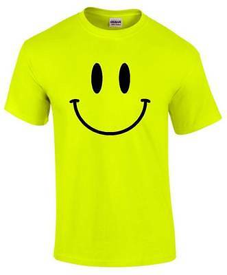 Smiley Face Mens Bright Yellow T Shirt Tee Acid House Dance 90's Music Dj Retro