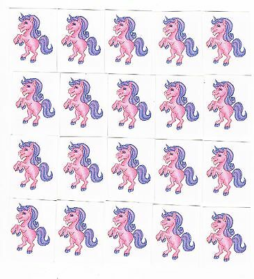 20 x Glitter Pink Unicorn Kids Temporary Tattoos -  Great Party Favours