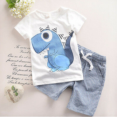 Cute Animal kids boy clothes summer 2017 children boys clothing set Baby costume