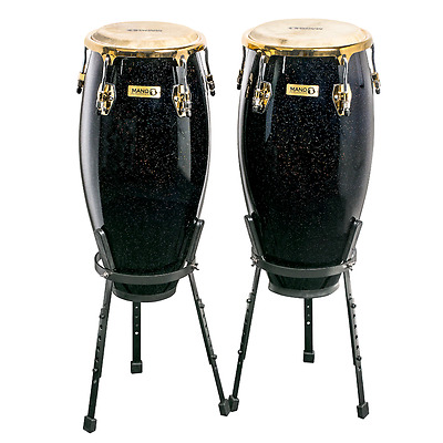 "Mano Percussion MP1654BKS 10"" and 11"" Conga Set includes Stand - Black Sparkle"