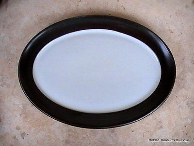 "Denby-Langley Camelot Dark Green Older 12"" Oval Platter England"