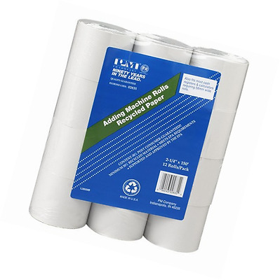 PM Company Perfection Recycled Calculator Rolls, 2.25 Inches x 150 Feet, White,