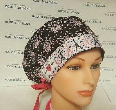Paris City Of Love/pixie Hat Scrub Surgical Medical/ Chemo