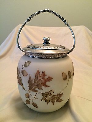 Mt. Washington Crown Milano Enamel Decorated Biscuit Jar