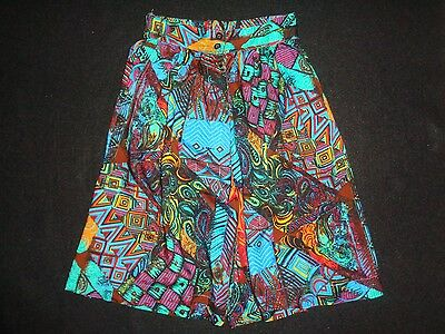 Vintage 80s 90s Rayon Shorts Split Skirt Abstract Print Size S/M High Waist EUC