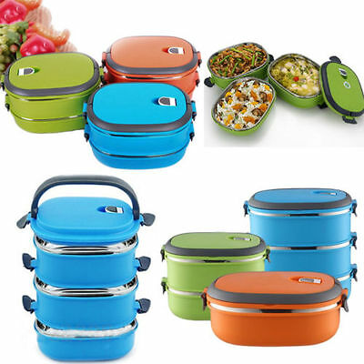 1/2/3 Layer Stainless Steel Thermal Insulated Bento Food Container Lunch Box Bag