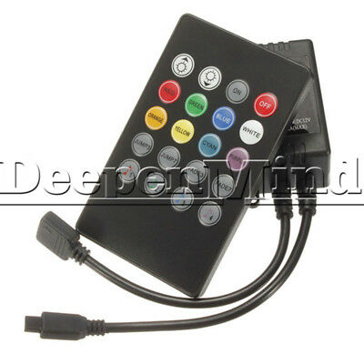 DC 12V Music Sound Activated Controller For RGB LED Light Strip 20 Key Remote