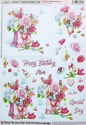 """A4 DIE CUT 3D PAPER TOLE DECOUPAGE """"FILLED WITH FLOWERS"""" SHEET DCD646 Birthday"""