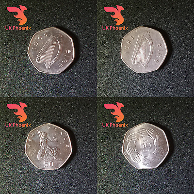 OLD LARGE 50 PENCE RARE 1969 1994 D - DAY LANDING ~ EIRE ~ EEC FIFTY COINS 50p