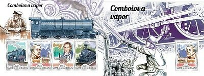 Z08 IMPERFORATED GB15217ab GUINEA-BISSAU 2015 Steam trains MNH Mint Set