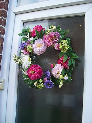 BNWT Large Bright Floral Wreath by Gisela Graham NEW