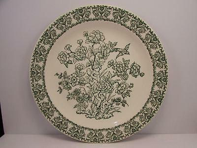 "RYL20 by Royal USA 12-1/4"" Chop Plate Green Flower Design With Bird"