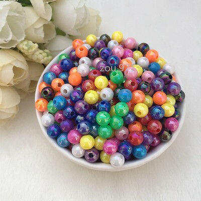 Wholesale 500pcs 4mm Acrylic Pearl Round Spacer Loose Beads mix colour