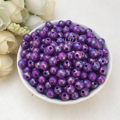 Wholesale 500pcs 4mm Acrylic Pearl Round Spacer Loose Beads purple colour