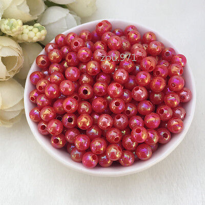 Wholesale 500pcs 4mm Acrylic Pearl Round Spacer Loose Beads Red colour