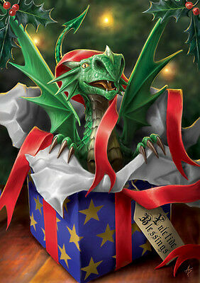 6 Pack Anne Stokes Yule Card Surprise Gift Dragon Christmas Cards