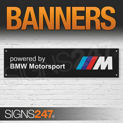 Powered by BMW Motorsport Black garage workshop PVC banner sign (ZA182)