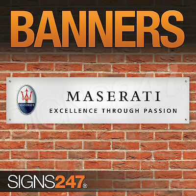 Maserati Cars Excellence Through Passion garage workshop PVC banner sign (ZA111)