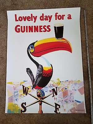 "22"" x 30"" Guinness Poster Lovely Day For Guinness Toucan Official Pub * NEW"