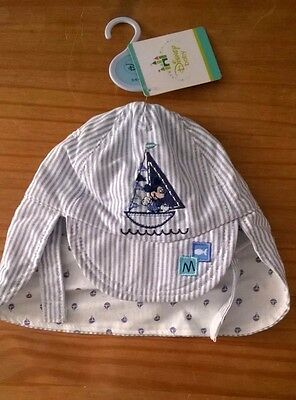Baby Boys Disney Mickey Legionnaire Cap 0-6 Months Blue White Striped Nautical