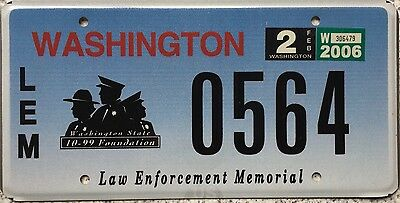 GENUINE Washington Law Enforcement Memorial License Licence Number Plate 0564
