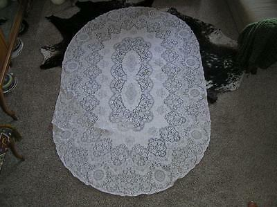 "Early 1930's Oval Quaker Filet Lace Floral Tablecloth 56"" x 92"""