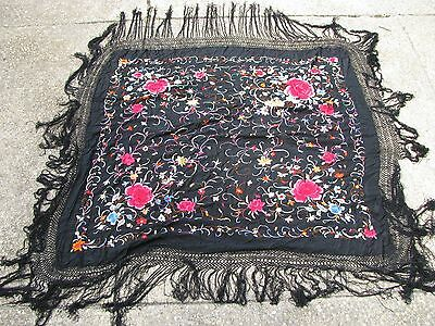 Antique 1800's Embroidered Table Cloth