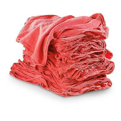 """50  SHOP RAGS TOWELS RED LARGE 14""""x13"""" COMMERCIAL INDUSTRIAL CLEANING TOWELS"""