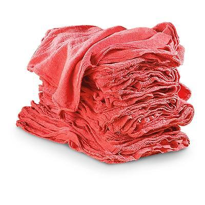 "100 SHOP RAGS TOWELS RED LARGE 14""x13"" COMMERCIAL INDUSTRIAL CLEANING TOWELS"