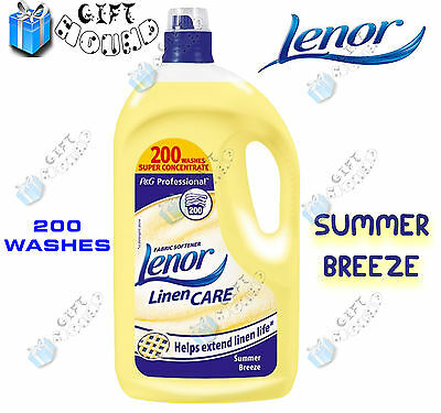Lenor Fabric Softener Conditioner 200 Wash Summer Breeze Linen Care 4 Litre