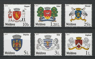 """Moldova 2015 """"Local Coats of Arms"""" 6 MNH stamps"""