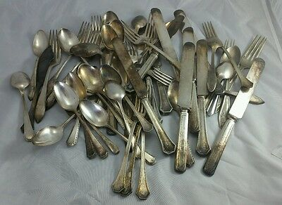 Vintage Silver Plated Flatware Forks knives spoons 50+ Crafts Jewelry