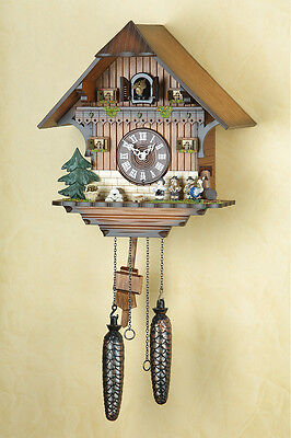 Cuckoo Clock, Black Forest,with Musicians,Night-Time Shut-Off,Made in Germany