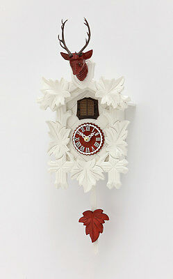 Black Forest Kuckucksuh Fan Pendulum Quartz Movement Cuckoo White Red Dial Face