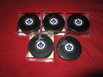 (5) Puck Auston Matthews Marner Nylander Rielly Signed Toronto Maple Leafs