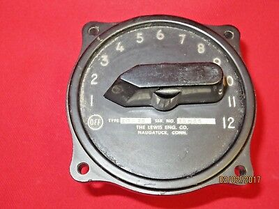 Wwii Lewis Engineering 12 Position Aircraft Airship Selector Switch Gauge 10S12
