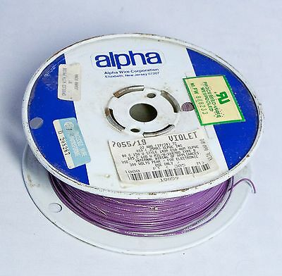 "Vintage Alpha Wire 7055/19 22 AWG Violet 1000"" Partial Roll"