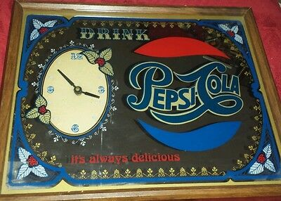 Vintage Drink Pepsi Mirrored Clock Sign 21x17 Great Condition