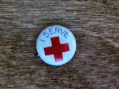 """Vintage """"I Serve"""" American National Red Cross Small Pinback Button Humanitarian"""
