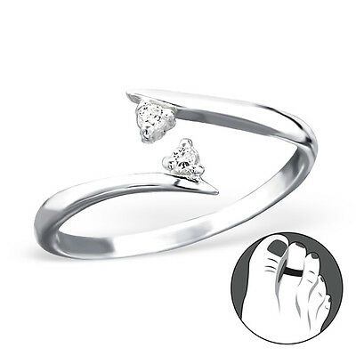 925 Sterling Silver Toe Ring Midi Clear CZ Adjustable Body Jewellery Rose Gold
