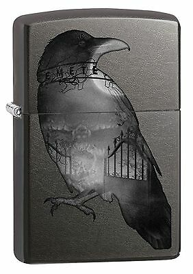 Zippo Windproof Gray Dusk Lighter With Double Exposed Raven, 29407, New In Box