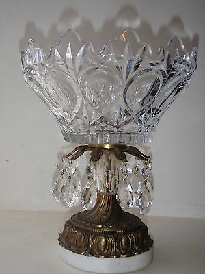 Compote Brass And  Glass Bowl With And Marble Base And 10 Prisms