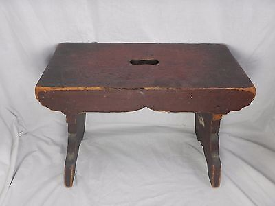 """Vintage Wooden Step Stool 13"""" Tall Rich Dark Color Handle Hole"""