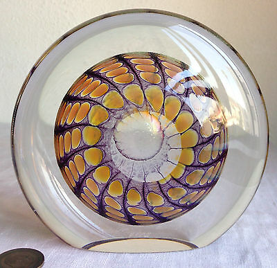 "Art Glass Sculpture Tom Philabaum Amber Reptilian Pattern Signed 5 1/8"" Tall"