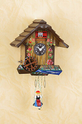 Black Forest Clock Handpainted with Rotating Mill Wheel / Music Made in Germany