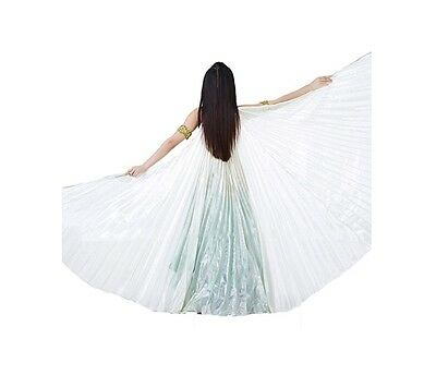 NEW Elegant Iridescent White Isis Belly Dancing Wings with Holding Stick Costume