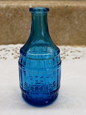 Vintage Kitchen Blue Bottle Wheaton NJ Glass Root Beer Barrel Shape Bitters 3""